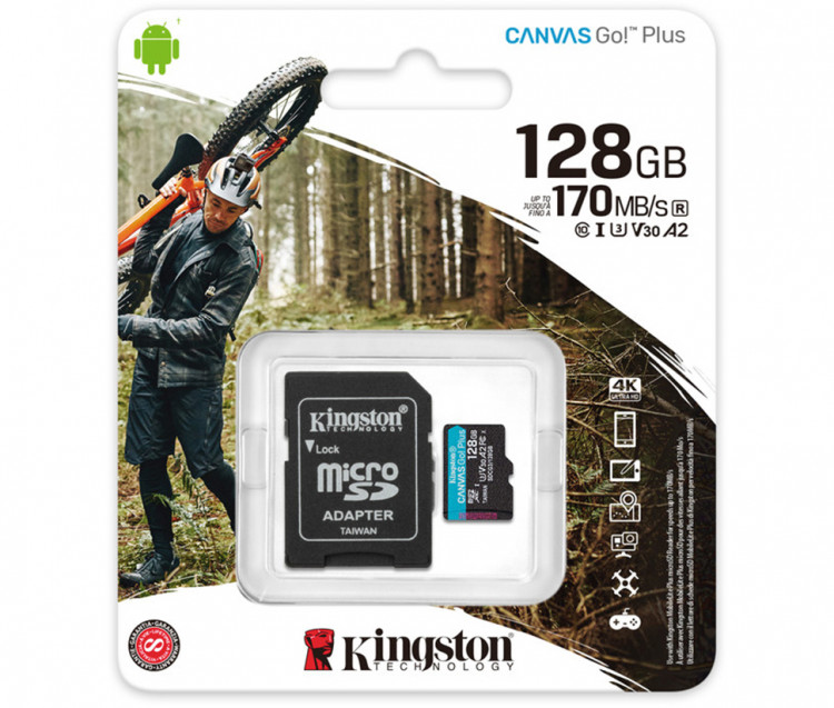 Карта пам'яті microSD 128Gb Kingston Canvas Go Plus +SD Adapter