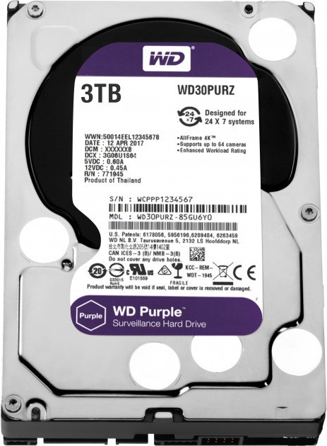 "Жорсткий диск 3,5"" 3Tb WD WD30PURZ SATA III 5400 64Mb Digital Purple"