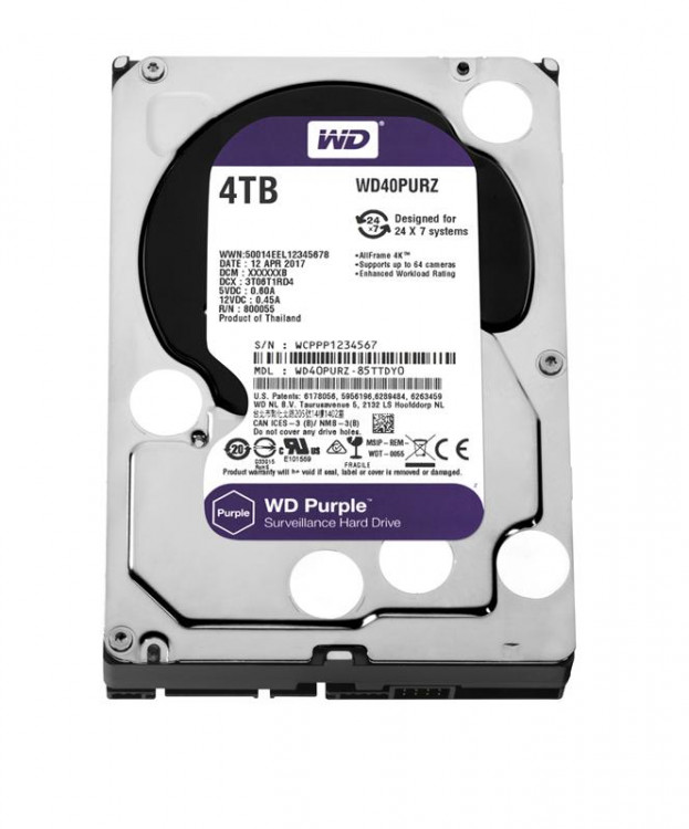 "Жорсткий диск 3,5"" 4Tb WD WD40PURZ SATA III 5400 64Mb Digital Purple"