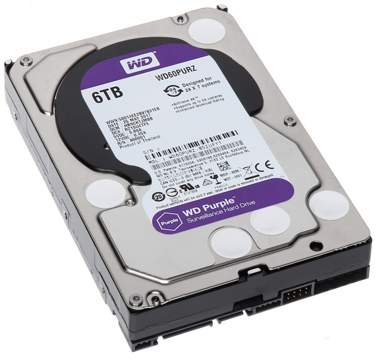 "Жорсткий диск 3,5"" 6Tb WD WD60PURZ SATA III 5400 64Mb Digital Purple Video"