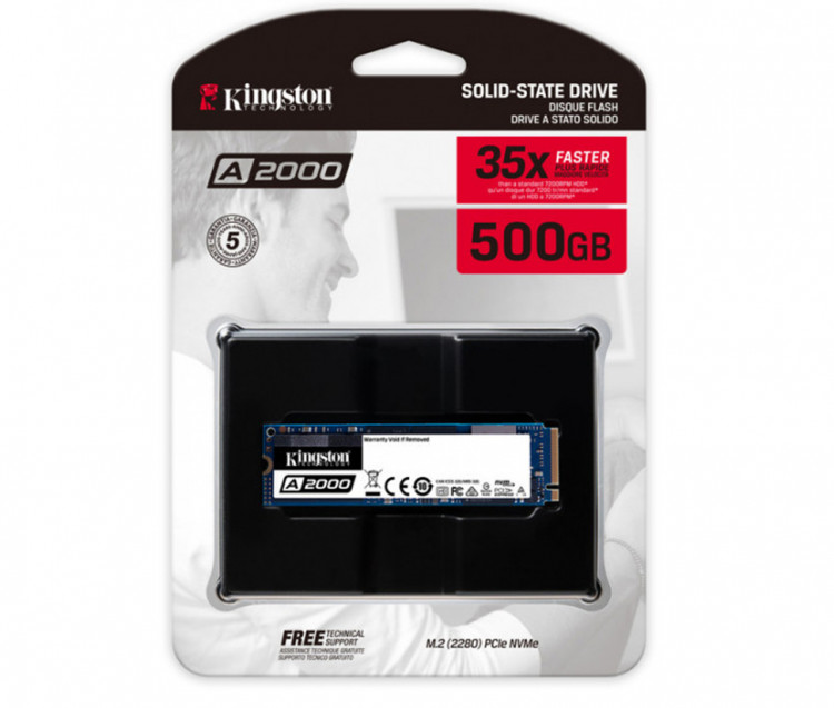 SSD M.2 500Gb Kingston A2000 SA2000M8/500G PCIe 3.0x4 (3D NAND)