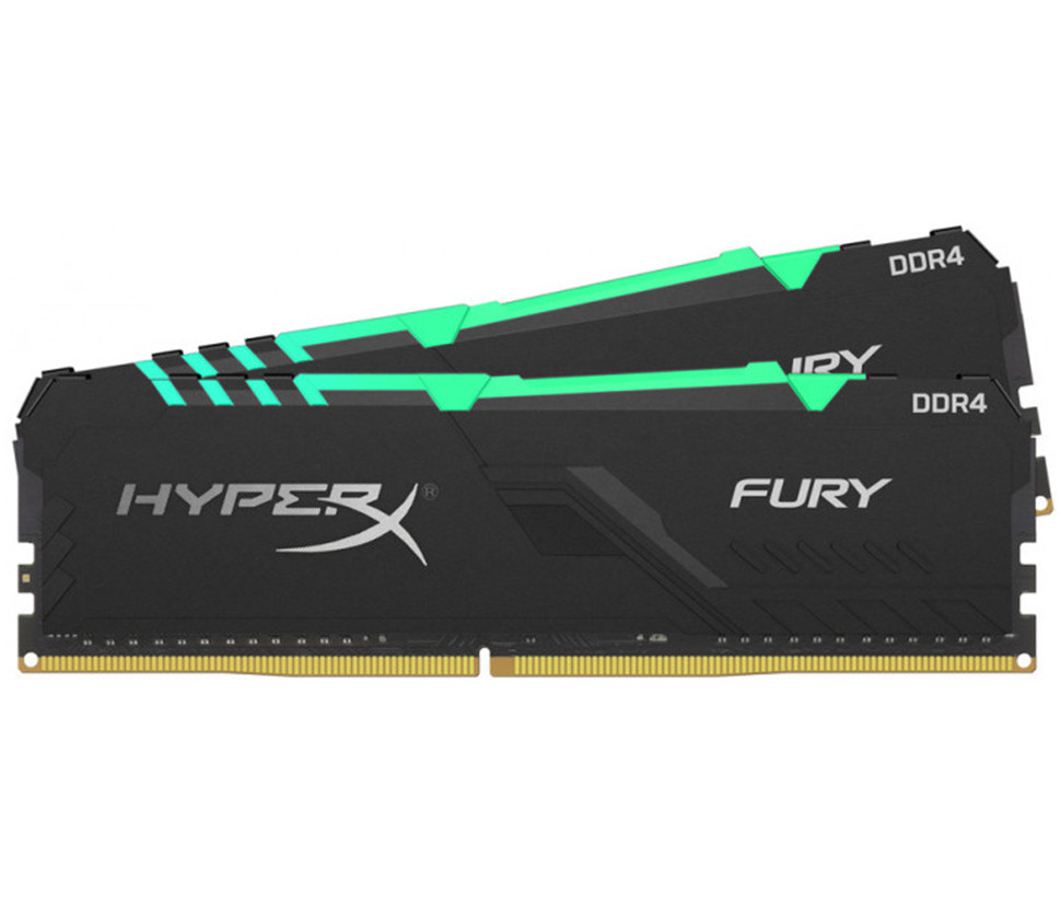 Оперативна пам'ять DIMM 32Gb KIT(2x16Gb) DDR4 PC3200 Kingston HyperX Fury RGB Black